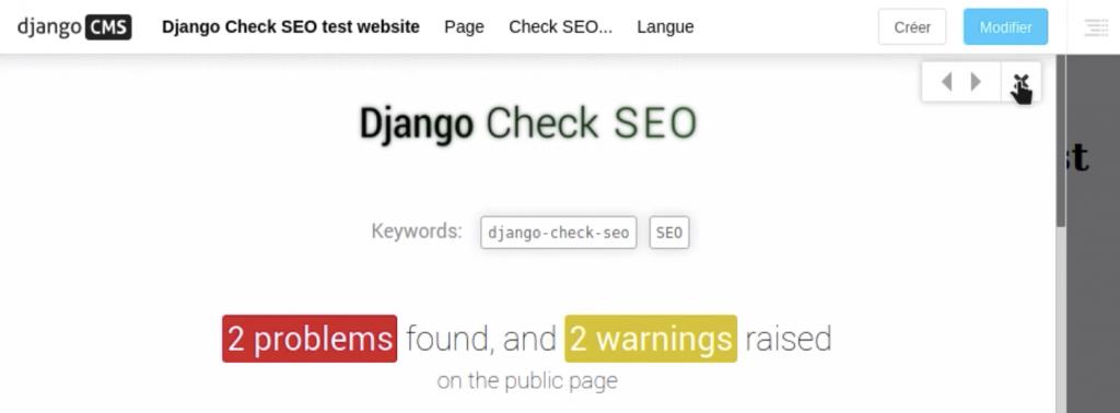 Fenêtre d'affichage de Check SEO