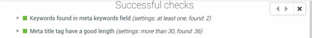 Affichage des points validés dans Check SEO