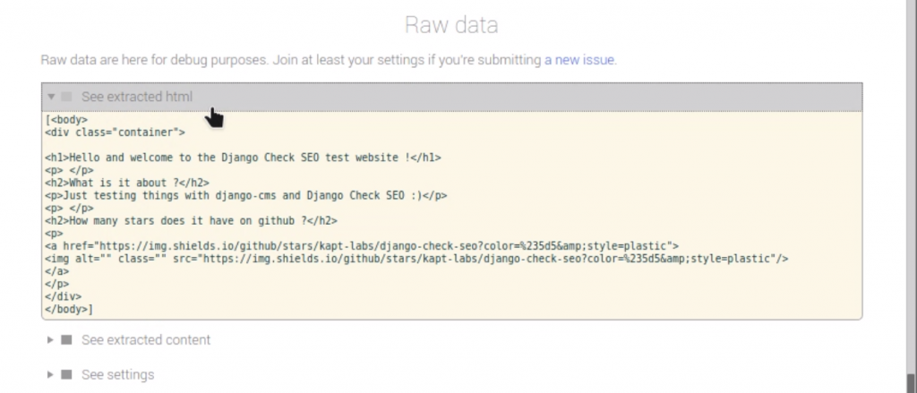 Section row data HTML de Check SEO