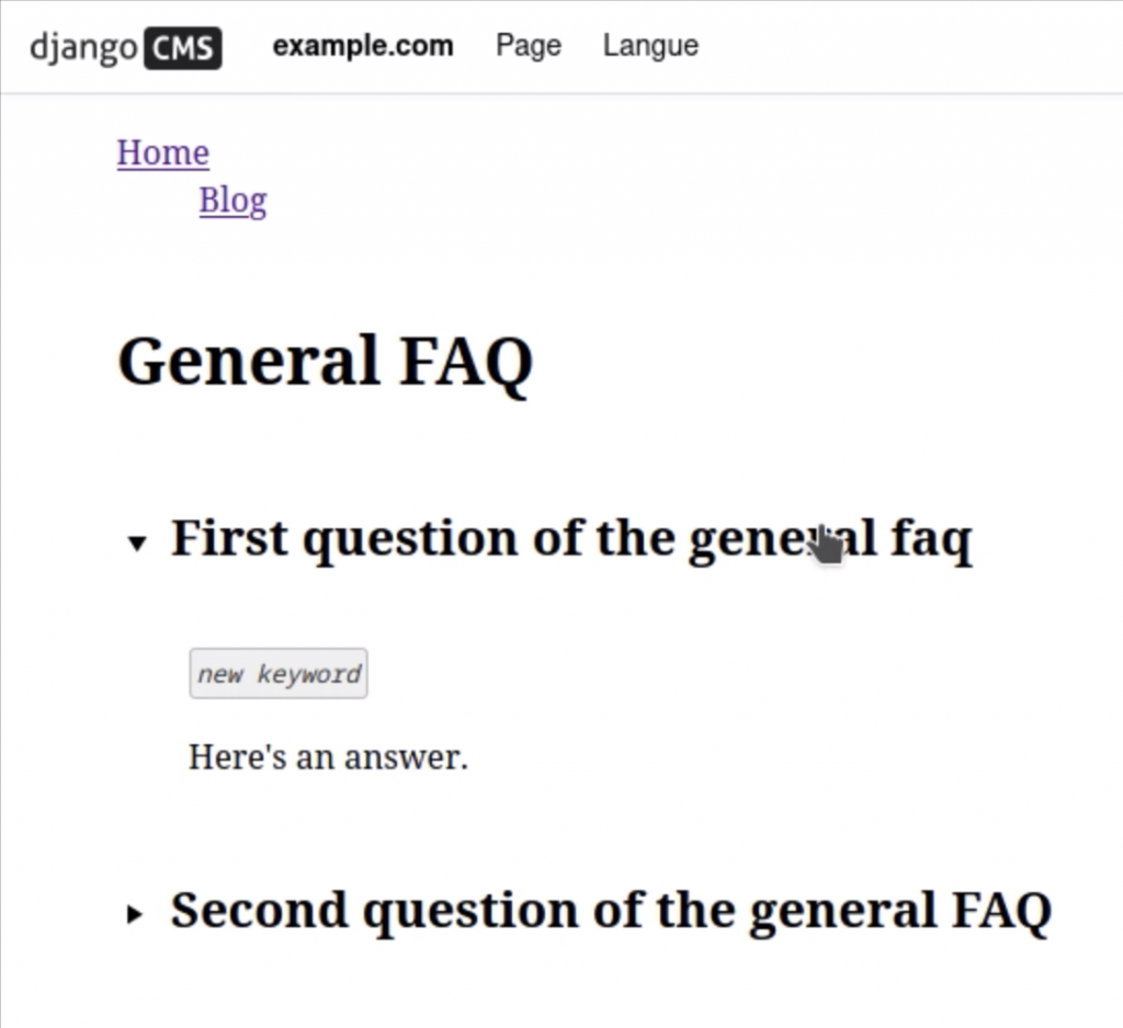 Affichage de la FAQ créée