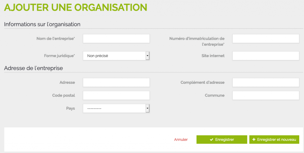 Ajout d'une organisation