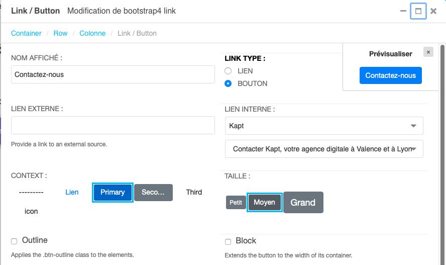 paramètres basiques d'un lien ou bouton