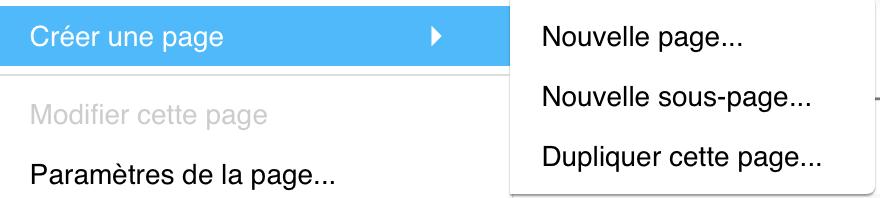 menu page option créer une page