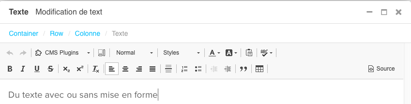 barre d outils plugin texte
